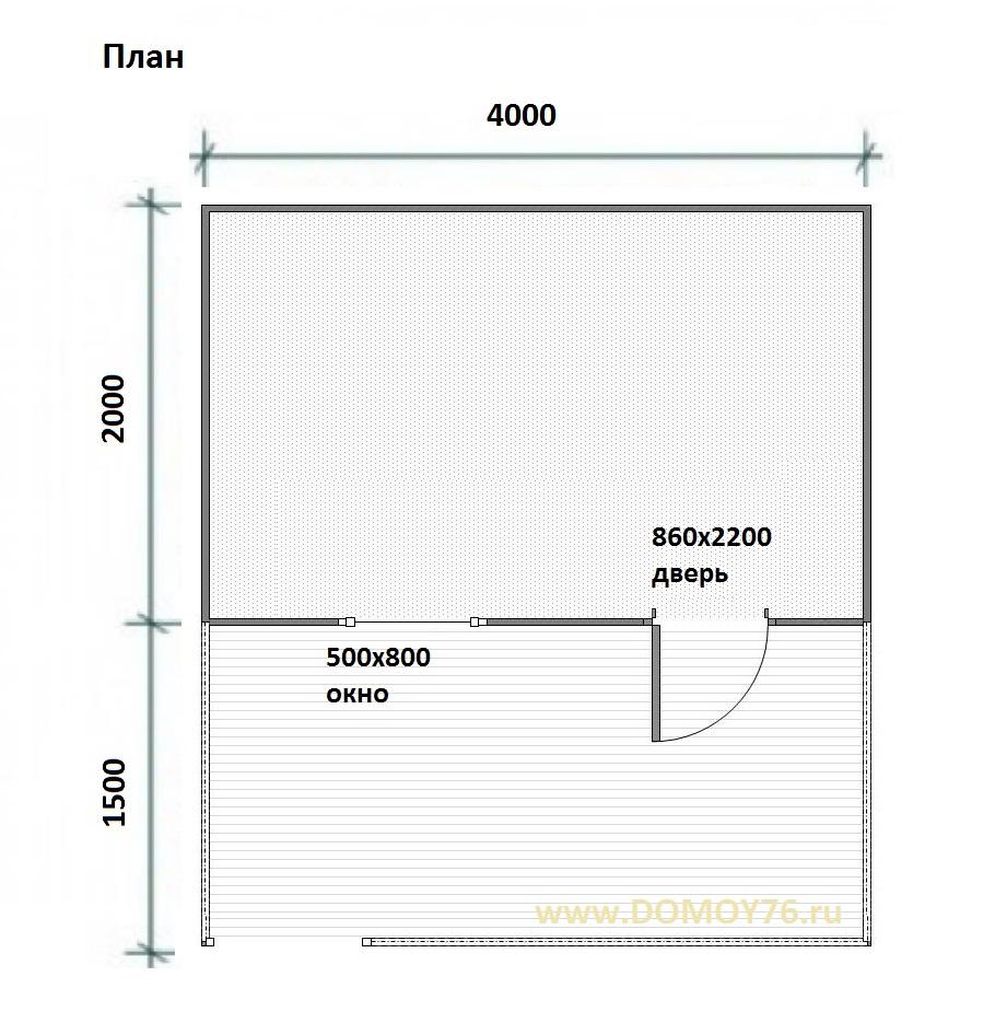 хоз.постройка 4х3.5 м. Проект-3